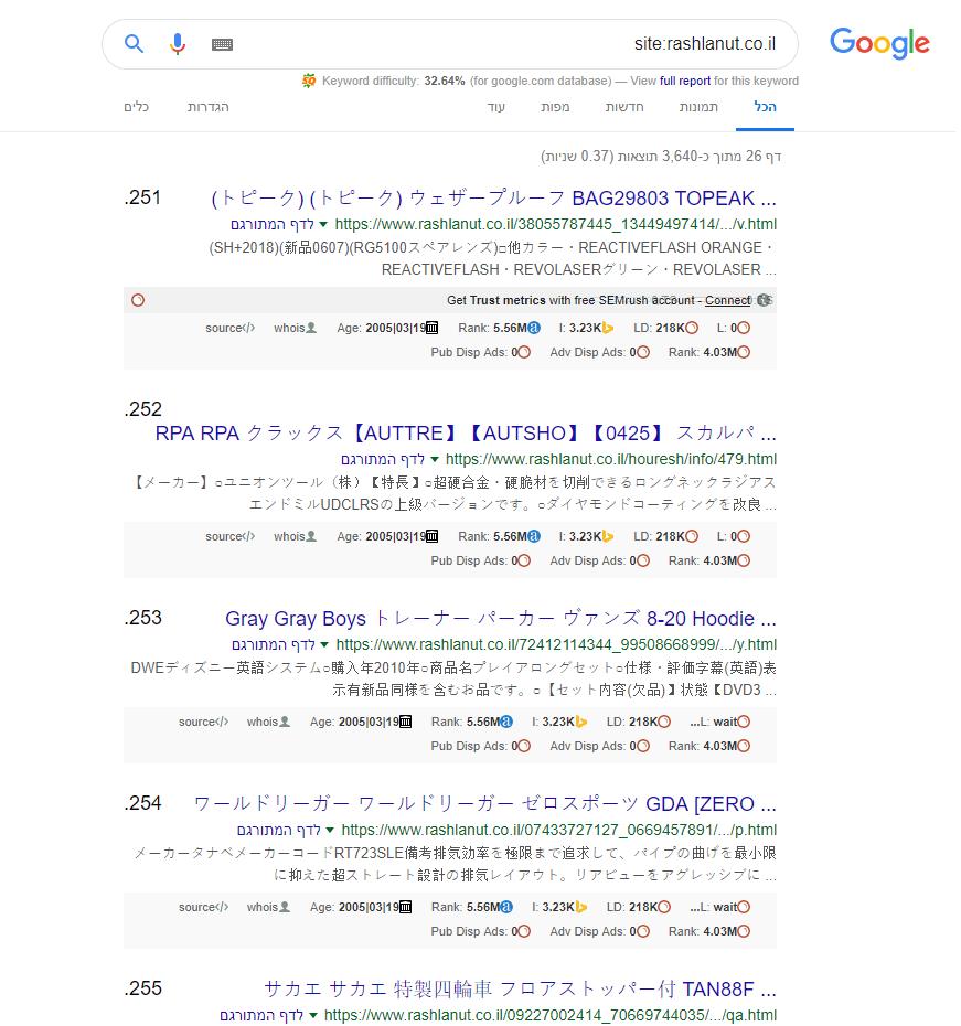 אתר פרוץ בתוצאות החיפוש