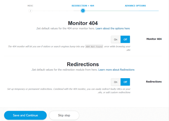 monitor and recdirections - rank math