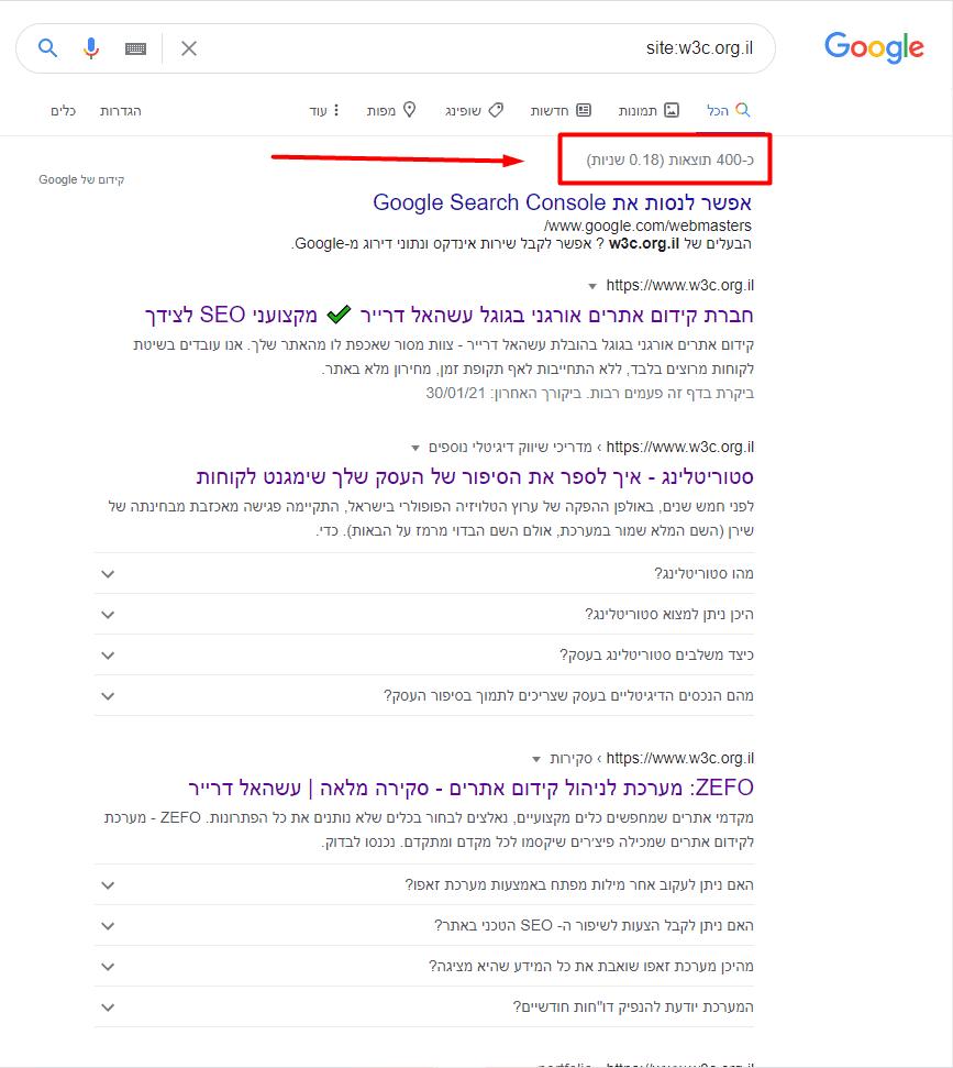 פקודת site כמות עמודים מאונדקסים