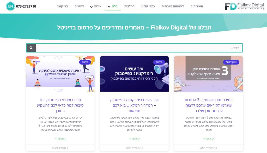 דוגמא של בלוג באתר