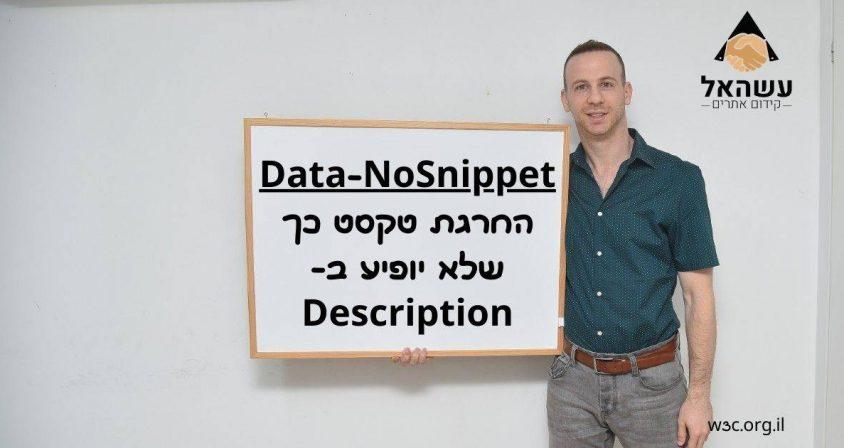 Data-NoSnippet - החרגת טקסט כך שלא יופיע בDescription